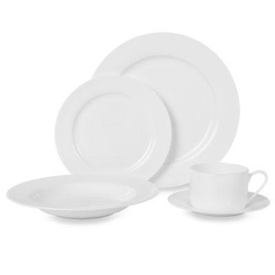 Fitz and Floyd® Nevaeh White Rim 5-Piece Dinnerware Set