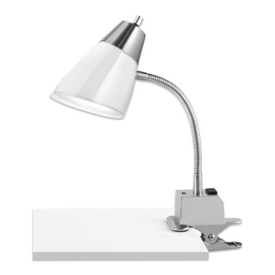 Studio 3B Dual Shade USB Clip Lamp in White with CFL Bulb