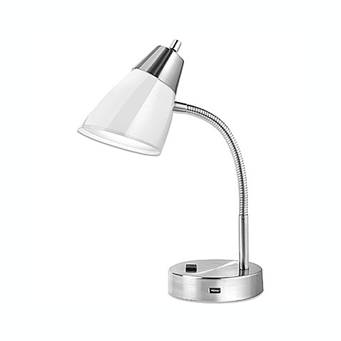 buy studio 3b outlet usb desk lamp in white from bed bath beyond. Black Bedroom Furniture Sets. Home Design Ideas