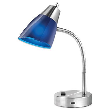 Studio 3B Outlet/USB Desk Lamp in Blue