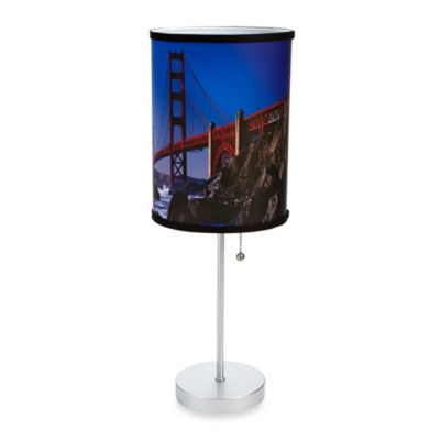 Golden Gate Bridge Table Lamp with Silver Finish Base