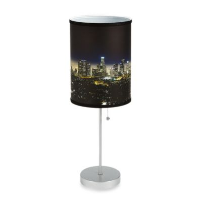 Los Angeles Night Sky Table Lamp with Silver Finish Base