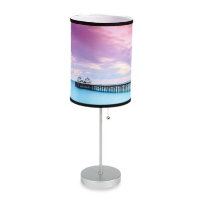 Malibu Beach Sunset Table Lamp with Silver Finish Base
