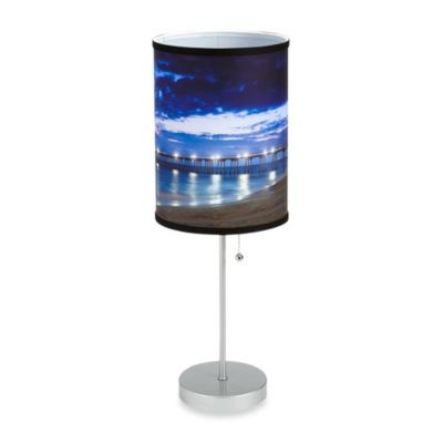 Hermosa Beach Pier 3 Table Lamp with Silver Finish Base