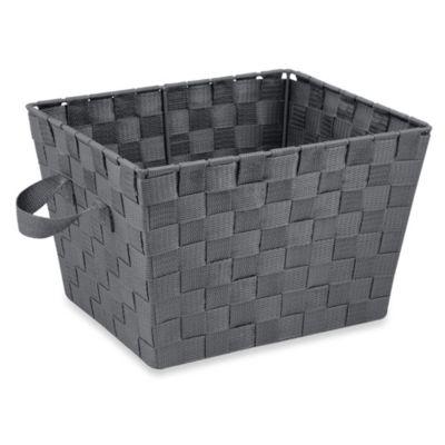 Small Woven Storage Tote in Grey