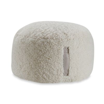 Sherpa Round Pouf in Cream