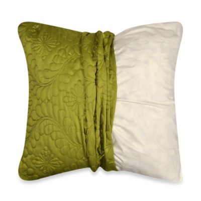MYOP Pucker Quilted 20-Inch Square Toss Pillow Cover in Apple Green
