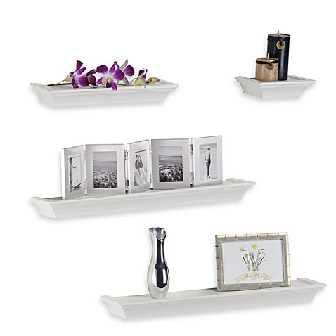 glamorous decorative bathroom wall shelves | Buy Melannco 4-Piece Ledge Set in White from Bed Bath & Beyond