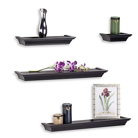 Melannco 4 piece ledge set in black bed bath beyond - Decorate wall shelves ...
