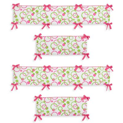Sweet Jojo Designs Mod Circles 4-Piece Crib Bumper in Pink/Green