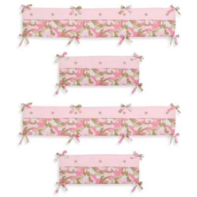Sweet Jojo Designs Camo Crib Bumper in Pink/Khaki