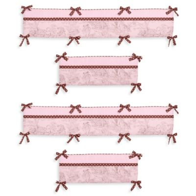 Sweet Jojo Designs French Toile and Polka Dot 4-Piece Crib Bumper in Pink/Brown