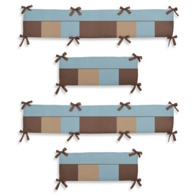 Sweet Jojo Designs Soho 4-Piece Crib Bumper in Blue/Brown