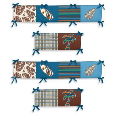 Sweet Jojo Designs Surf Crib Bumper in Blue/Brown
