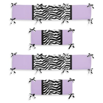 Sweet Jojo Designs Funky Zebra 4-Piece Crib Bumper in Purple