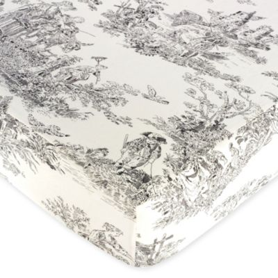 French Toile Fitted Crib Sheet in Black/Cream