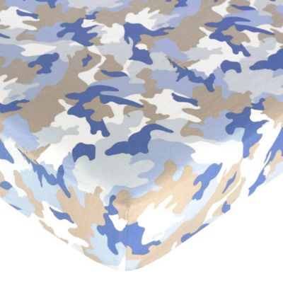 Sweet Jojo Designs Blue Camo Fitted Crib Sheet in Camo Print