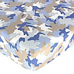 Sweet Jojo Designs Camo Fitted Crib Sheet in Blue