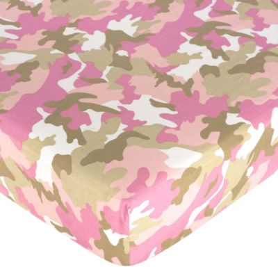 Sweet Jojo Designs Camo Fitted Crib Sheet in Pink/Khaki