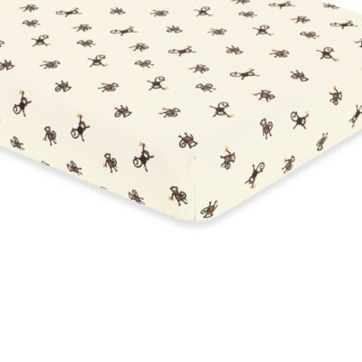 Sweet Jojo Designs Monkey Time Crib Fitted Sheet in Monkey Print