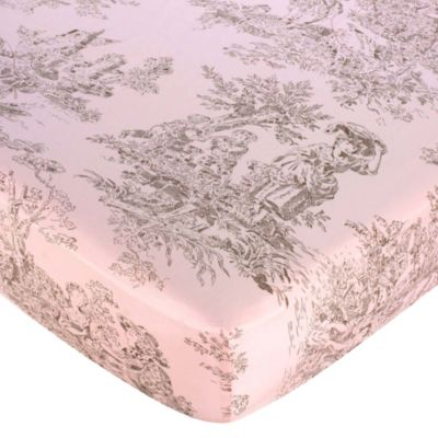 Sweet Jojo Designs French Toile and Polka Dot Fitted Toile Crib Sheet in Pink/Brown