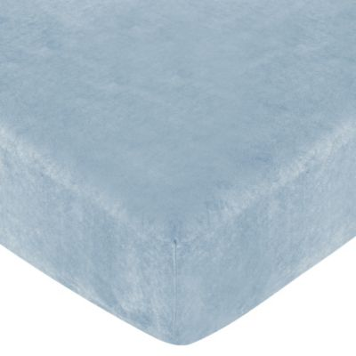 Sweet Jojo Designs Soho Fitted Crib Sheet in Blue Microsuede