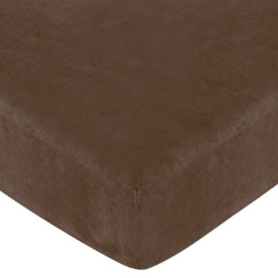 Sweet Jojo Designs Soho Collection Fitted Crib Sheet in Brown Microsuede