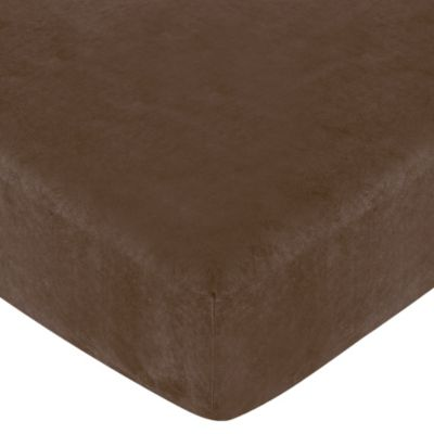 Sweet Jojo Designs Soho Fitted Crib Sheet in Chocolate Brown Microsuede