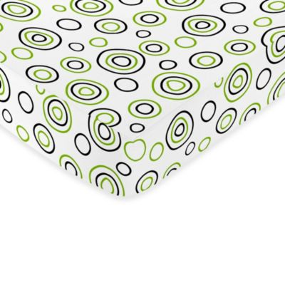 Sweet Jojo Designs Lime and Black Spirodot Collection Fitted Circle Print Crib Sheet in Multi