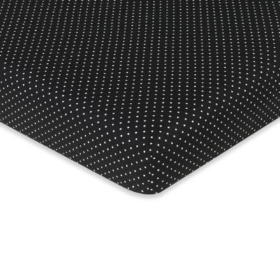 Sweet Jojo Designs Lime and Black Spirodot Fitted Mini Dot Print Crib Sheet in Black/White