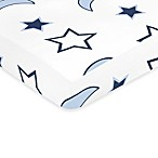 Sweet Jojo Designs Starry Night Collection Fitted Stars and Moon Print Crib Sheet in Multi
