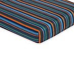 Sweet Jojo Designs Surf Collection Fitted Stripe Print Crib Sheet in Blue/Brown
