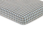 Sweet Jojo Designs Surf Collection Fitted Plaid Crib Sheet in Blue/Brown