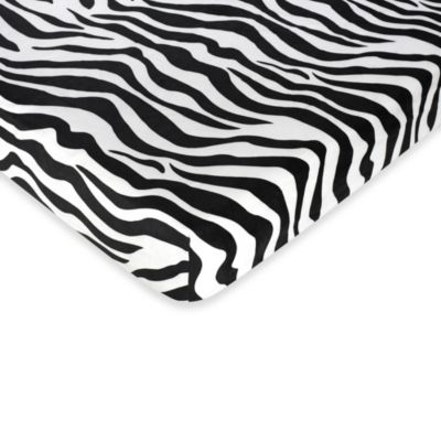 Sweet Jojo Designs Turquoise Funky Zebra Fitted Zebra Print Crib Sheet in Black/White