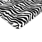Sweet Jojo Designs Funky Zebra Fitted Zebra Print Crib Sheet in Black/White