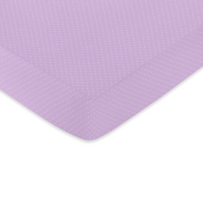 Sweet Jojo Designs Lavender and White Suzanna Collection Fitted Mini Dot Crib Sheet in Multicolor