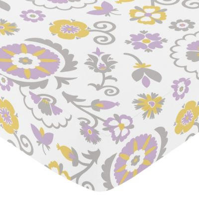 Sweet Jojo Designs Lavender and White Suzanna Collection Fitted Floral Print Crib Sheet