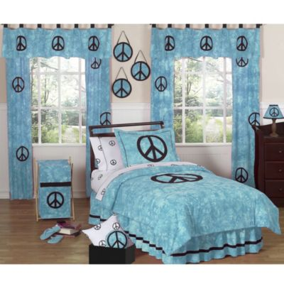 Sweet Jojo Designs Peace Out Full/Queen 3-Piece Bedding Set in Blue