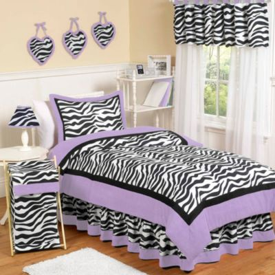 Sweet Jojo Designs Funky Zebra 4-Piece Twin Bedding Set in Purple