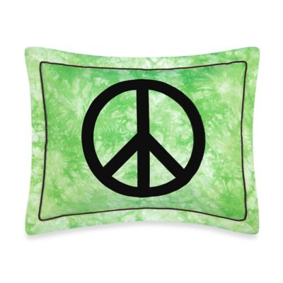 Sweet Jojo Designs Peace Out Standard Pillow Sham in Green