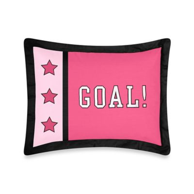 Sweet Jojo Designs Soccer Standard Pillow Sham in Pink
