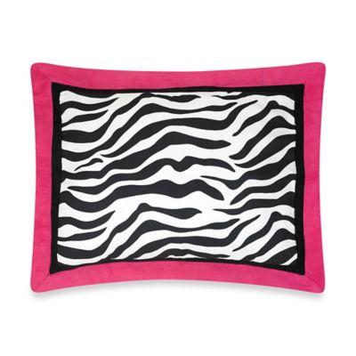 Sweet Jojo Designs Funky Zebra Standard Pillow Sham in Pink