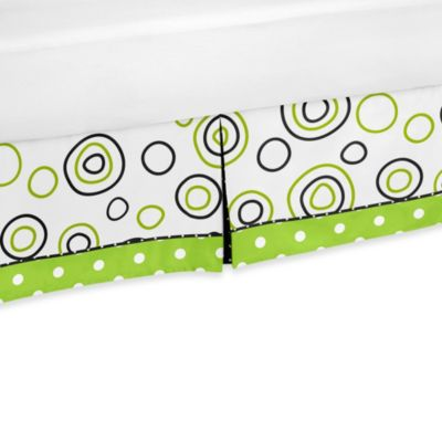 Sweet Jojo Designs Spirodot Toddler Bed Skirt in Lime/Black