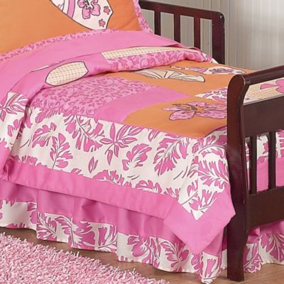Sweet Jojo Designs Surf Toddler Bed Skirt in Pink/Orange