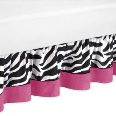 Sweet Jojo Designs Funky Zebra Toddler Bed Skirt in Pink