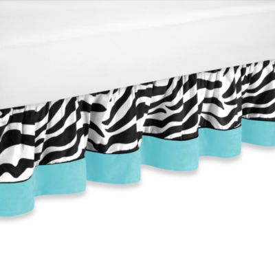 Sweet Jojo Designs Funky Zebra Toddler Bed Skirt in Turquoise
