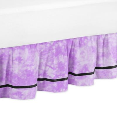 Sweet Jojo Designs Peace Out Queen Bed Skirt in Purple