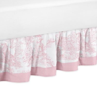 Toile Queen Bed Skirt in Pink