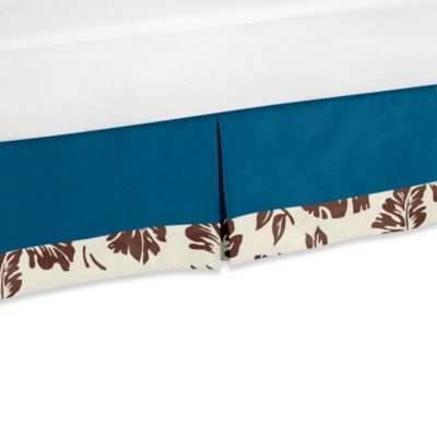 Sweet Jojo Designs Surf Queen Bed Skirt in Blue/Brown