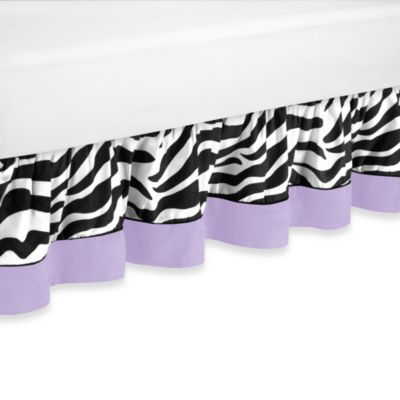 Sweet Jojo Designs Funky Zebra Queen Bed Skirt in Purple